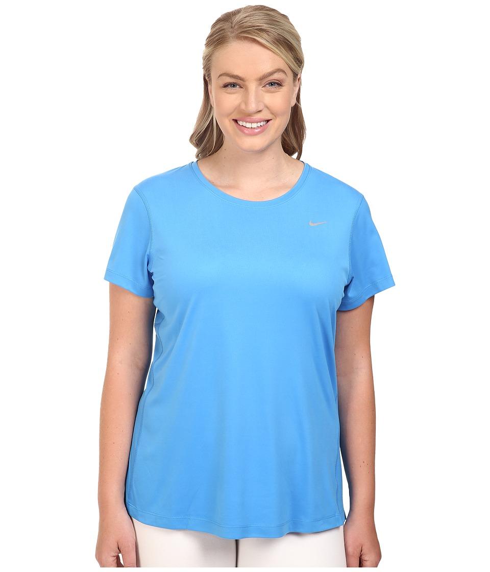 Nike - Miler Short-Sleeve Running Top (Size 1X-3X) (Light Photo Blue) Women