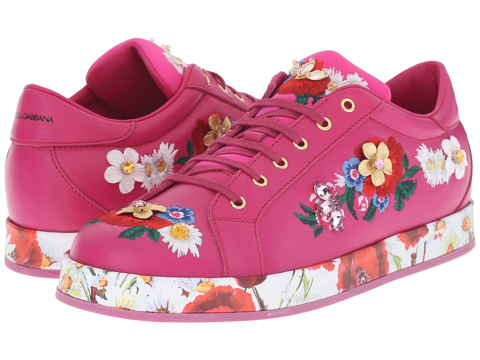 Dolce amp Gabbana Kids Applique Sneaker Big Kid Fuchsia Girls Shoes