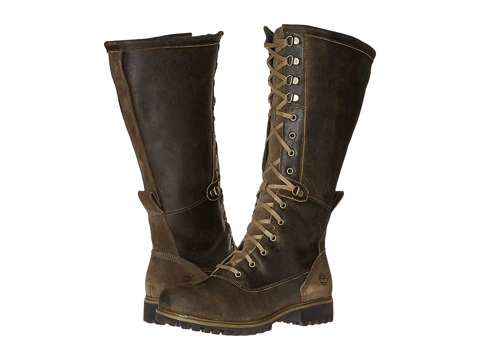 Timberland - Wheelwright Tall Lace Waterproof Boot (Dark Brown Suede) Women