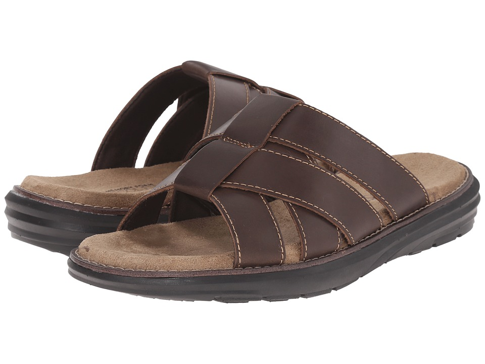 Dr. Scholls Sellman Brown Leather Mens Slide Shoes
