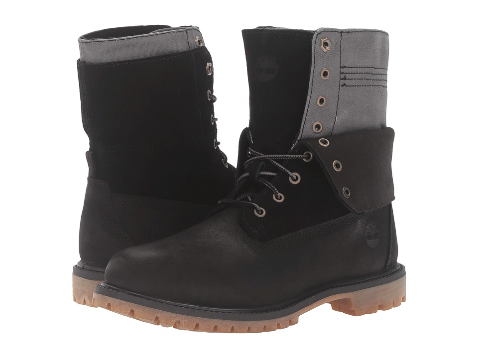 Timberland - Authentics Double Fold-Down Boot (Black Nubuck) Women