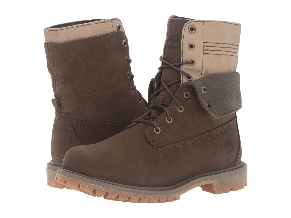 Timberland - Authentics Double Fold-Down Boot (Olive Nubuck) Women