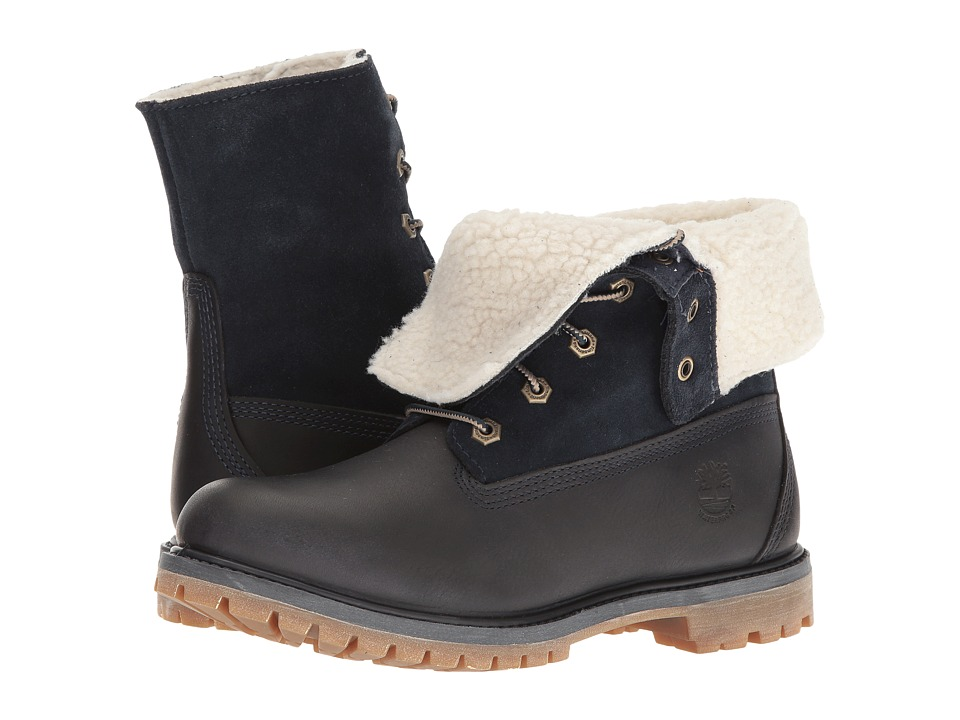 Timberland Authentics Teddy Fleece Waterproof Fold-Down Boot (Black Iris) Women