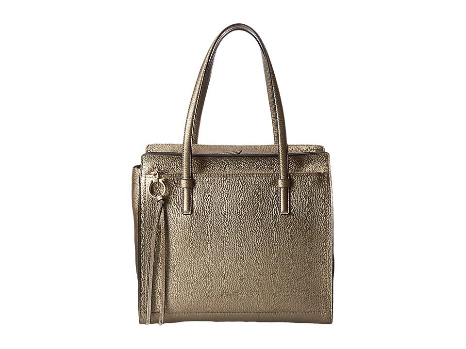 Salvatore Ferragamo - 21F216 Amy (Grafite Fond/Nero/Nero) Handbags