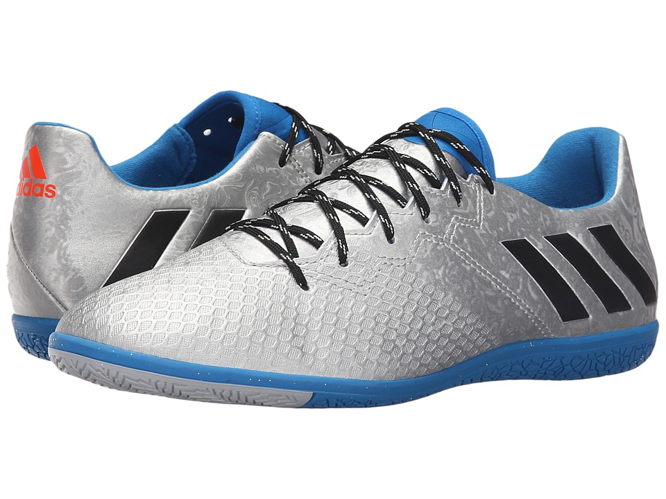 adidas - Messi 16.3 IN (Silver Metallic/Black/Shock Blue) Mens Soccer Shoes