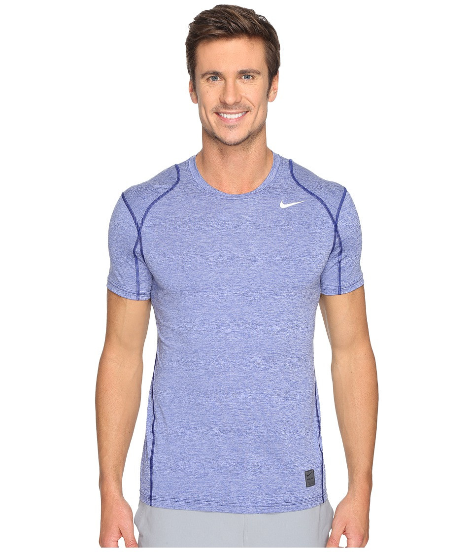 Nike Pro Cool Fitted Heather Top (Deep Royal Blue/Deep Royal Blue/White) Men