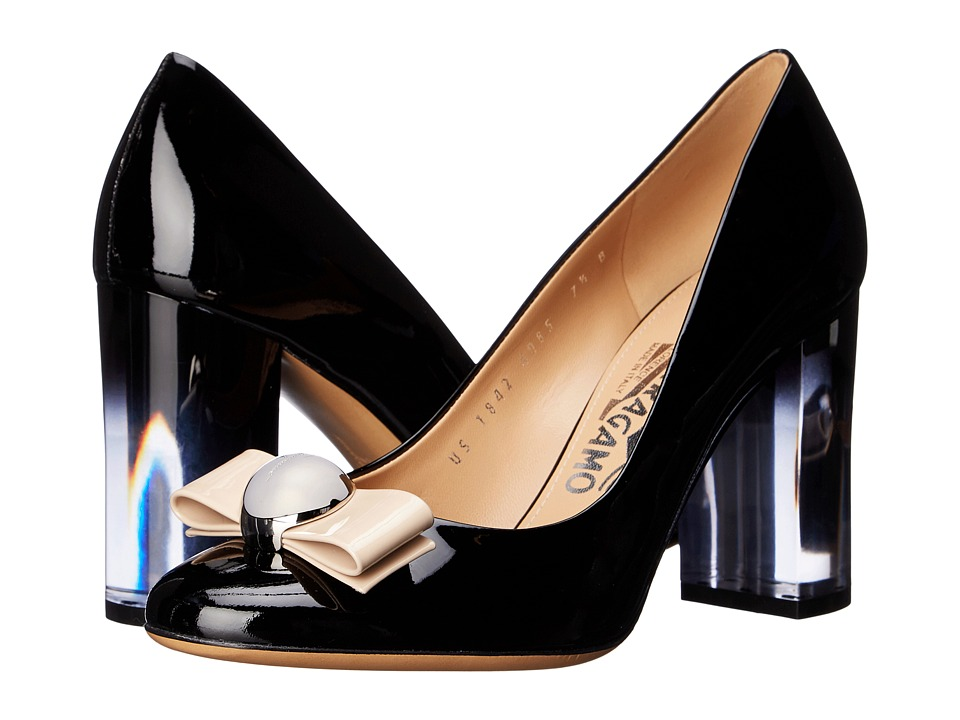 Salvatore Ferragamo - Fiammetta (Nero Patent Leather/Macadamia Patent Leather) High Heels