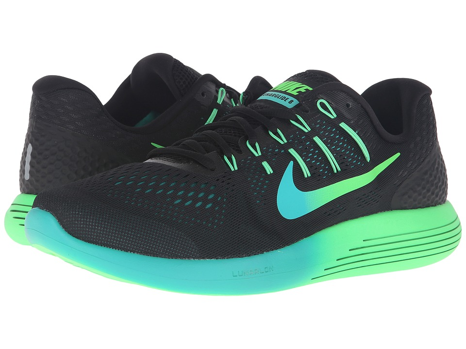 Nike - Lunarglide 8 (Black/Multicolor/Real Teal/Clear Jade) Men