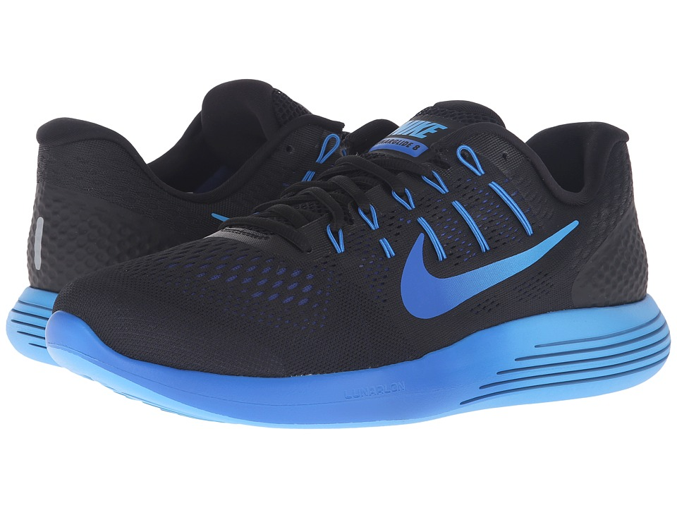 Nike - Lunarglide 8 (Black/Multicolor/Deep Royal Blue/Hyper Cobalt) Men