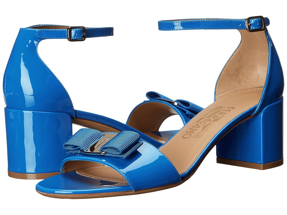 Salvatore Ferragamo Gavina (Bleu Indien Patent Leather) High Heels