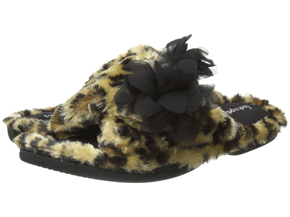Foot Petals Foot Petals Adjustable Slide with Flower Leopard Womens Slippers