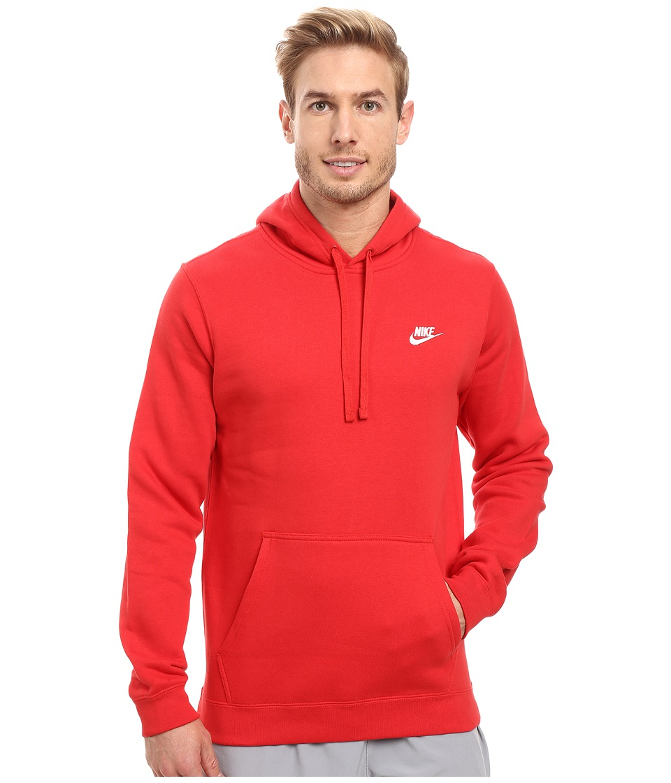 Nike Club Fleece Pullover Hoodie (University Red/University Red/White) Men