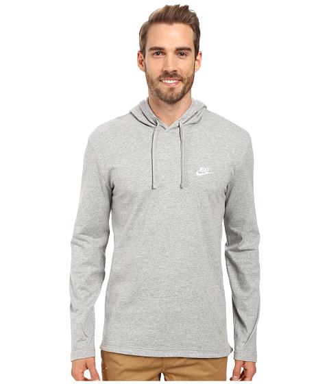 Nike Club Jersey Pullover Hoodie - Dark Grey Heather/White