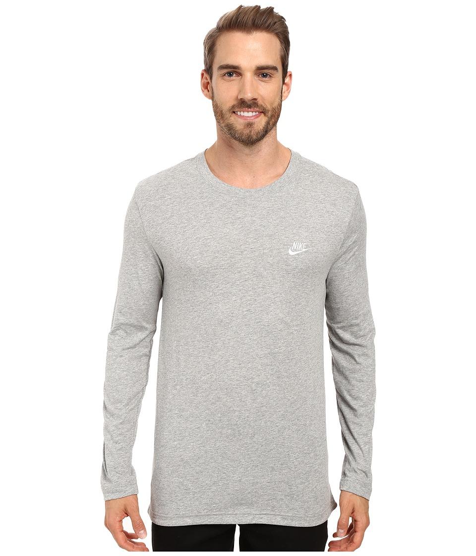 Nike Sportswear Long Sleeve Shirt (Dark Grey Heather/White) Men
