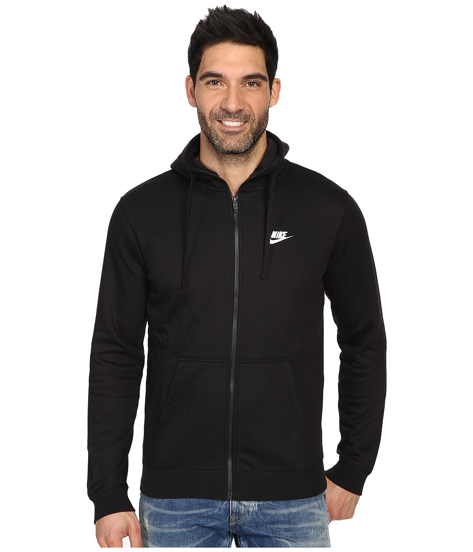 Nike Club Fleece Full-Zip Hoodie (Black/Black/White) Men