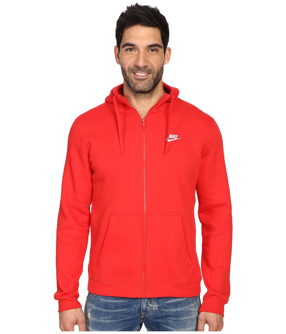 Nike Club Fleece Full-Zip Hoodie (University Red/University Red/White) Men