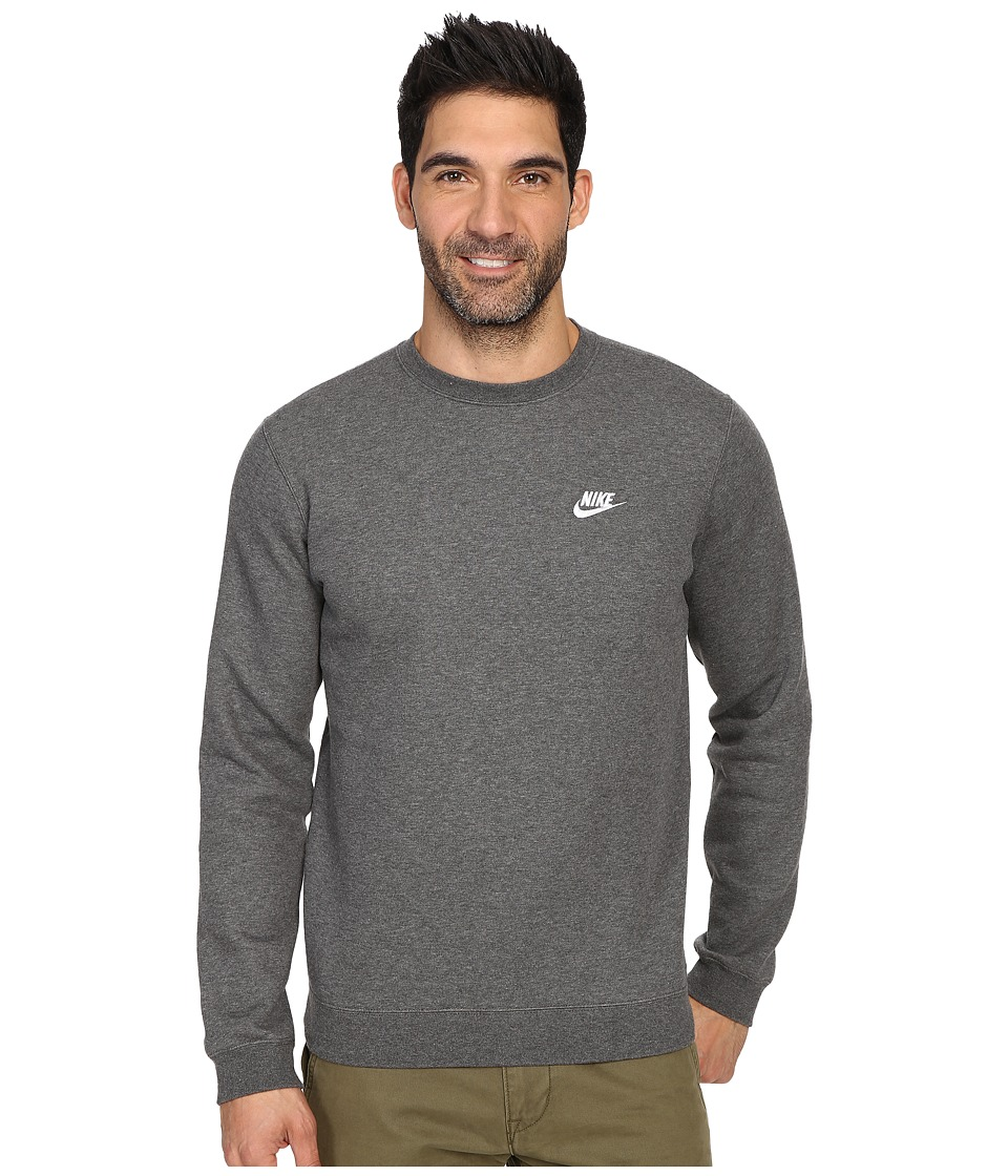 Nike Club Fleece Pullover Crew (Charcoal Heather/White) Men