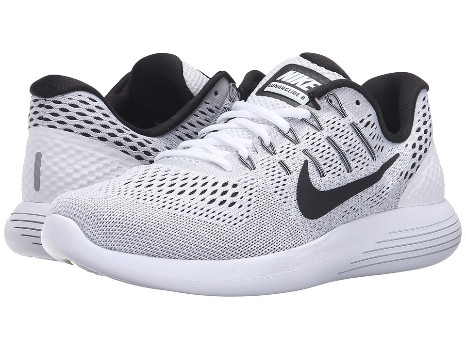 Nike - Lunarglide 8 (White/Black/Wolf Grey) Men