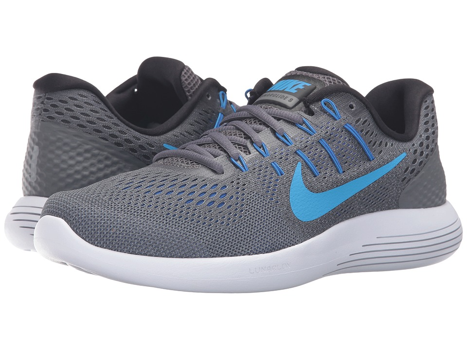 Nike - Lunarglide 8 (Dark Grey/Blue Glow/Black/Blue Gray) Men