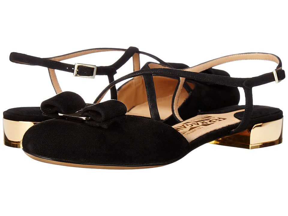 Salvatore Ferragamo Suede Closed-Toe Sandal (Nero Suede) Women