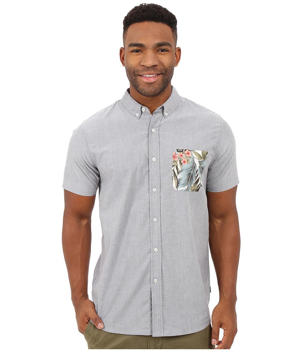 Rip Curl Ourtime Short Sleeve Shirt Medium Grey Mens Short Sleeve Button Up