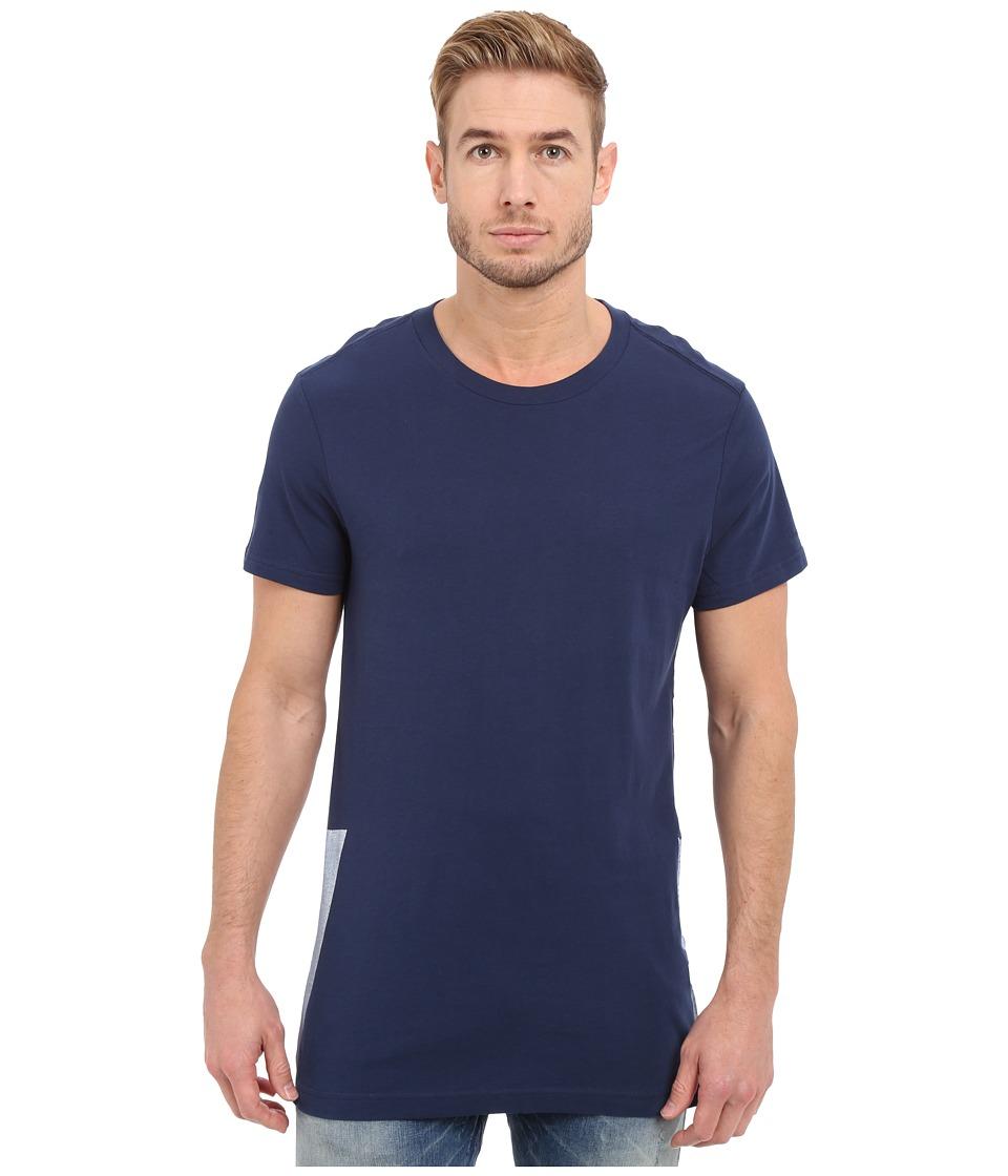 G-Star - Rimler Crew Neck Short Sleeve Long Tee in Compact Jersey (Sapphire Blue) Men