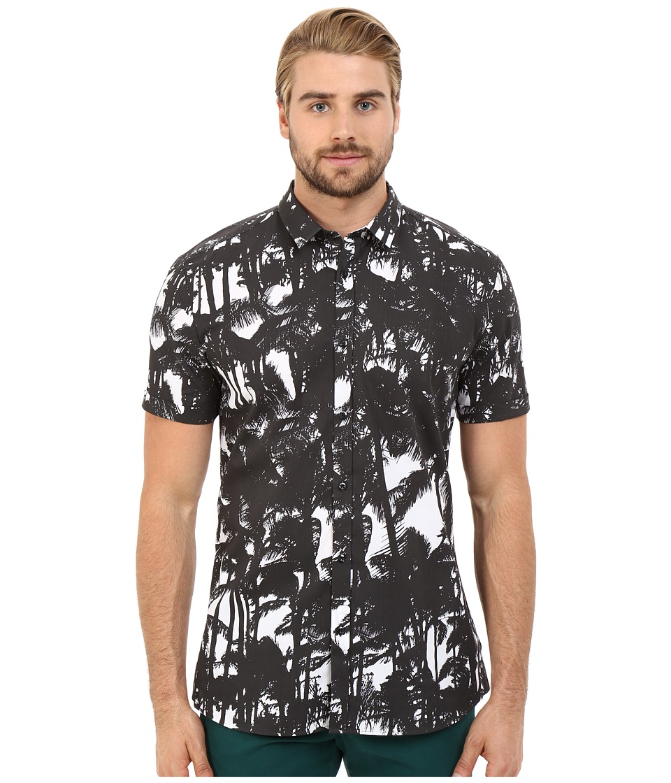 HUGO Empson Short Sleeve Palm Print Black Mens Clothing