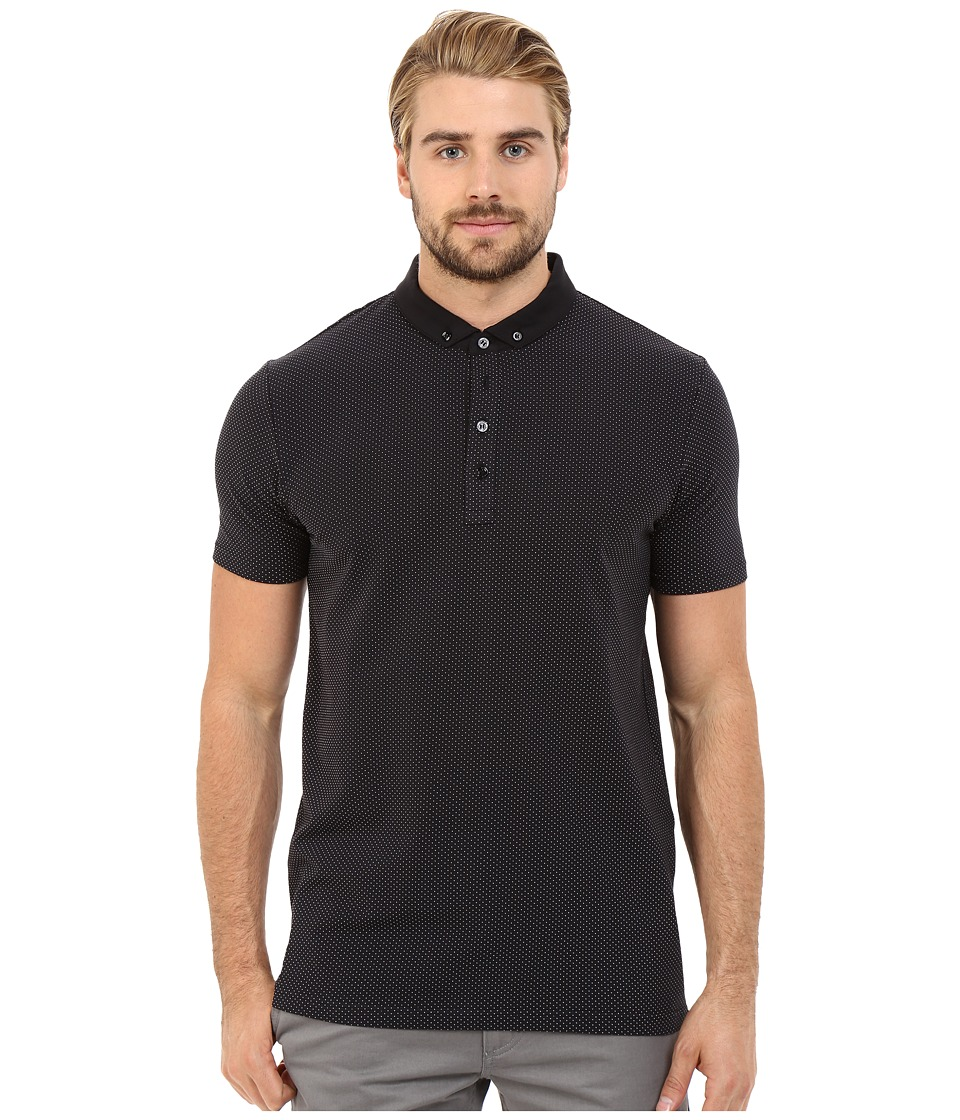 HUGO Diowa Mesh Print Polo Black Mens Clothing