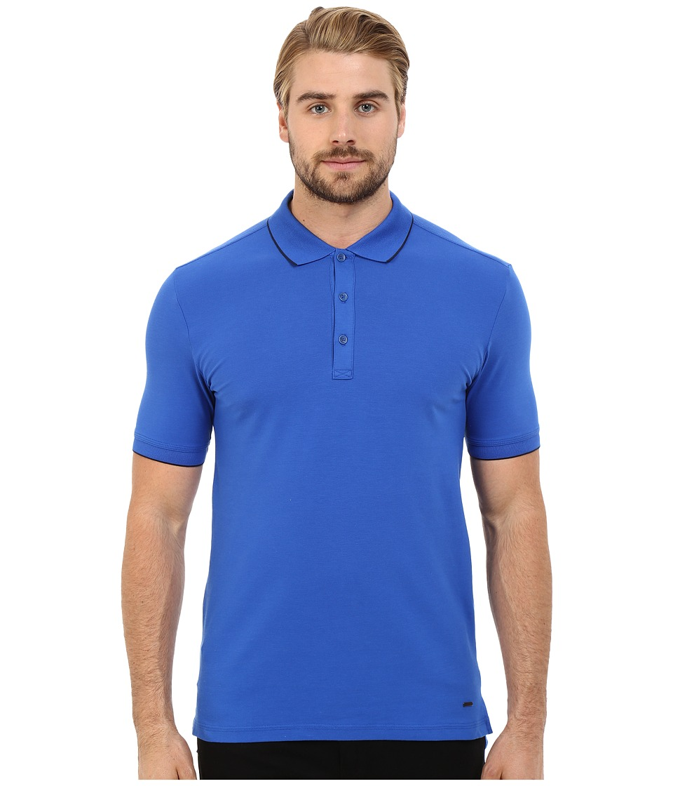 HUGO Delorian Polo with Contrast Piping Turquoise/Aqua Mens Clothing