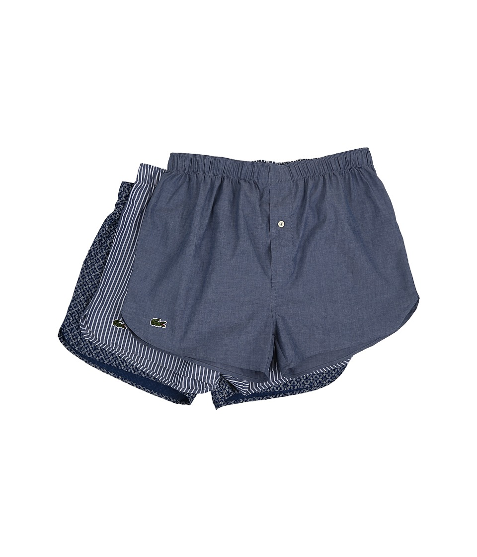 Lacoste Authentics Chambray Woven Boxer 3 Pack Blue Mens Underwear