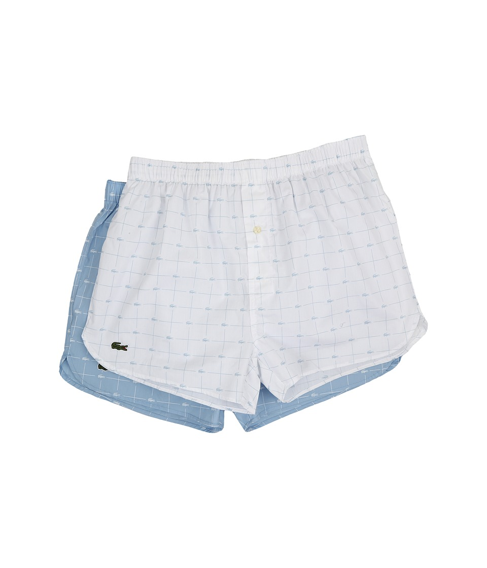 Lacoste Authentics Woven Boxer 2 Pack Croc Boxer White/Powder Blue Mens Underwear