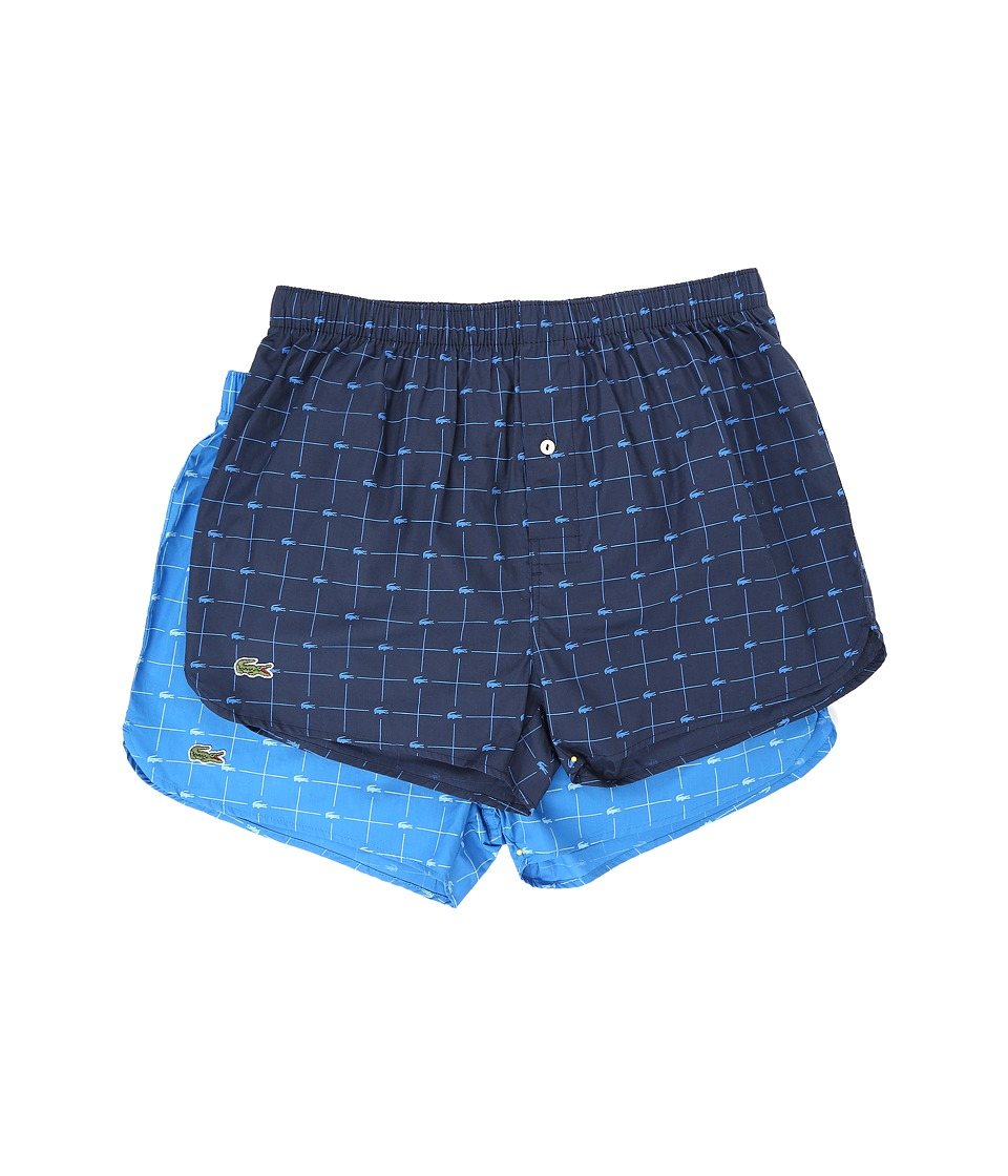 Lacoste Authentics Woven Boxer 2 Pack Croc Boxer Navy/Skydiver Mens Underwear