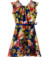 Us Angels - Floral Chiffon Flutter Cap Sleeve Dress w/ Tie Belt & Full Skirt (Big Kids)
