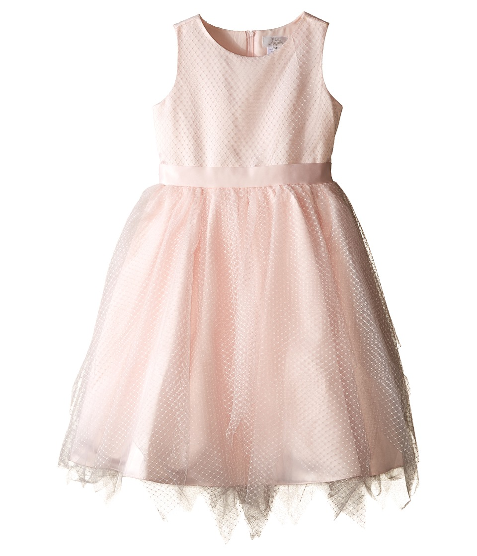 Us Angels - Dot Netting Sleeveless Dress w/ Tiered Hanky Hem Skirt