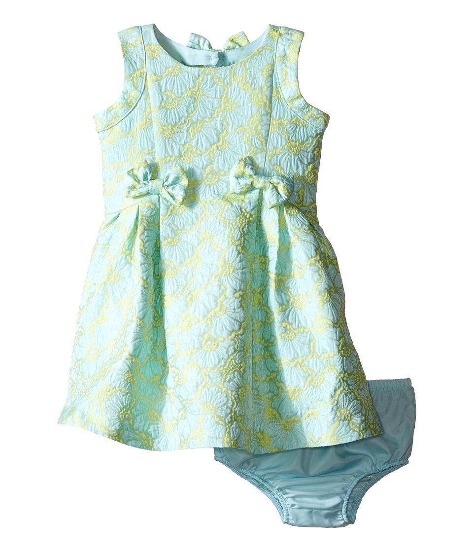 Us Angels Brocade Sleeveless Dress w/ Bow Trim Back Cut Out Infant Mint Girls Dress