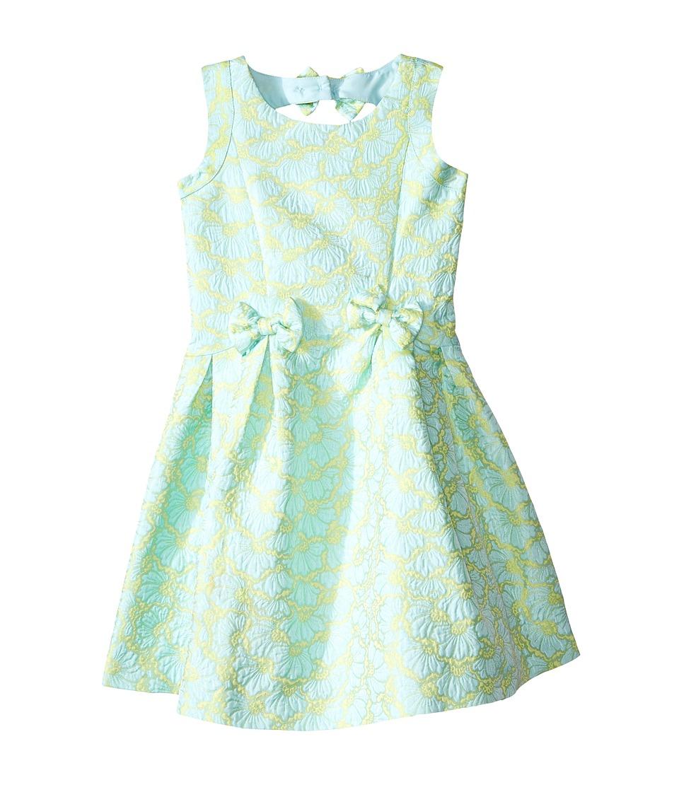 Us Angels Brocade Sleeveless Dress w/ Bow Trim Back Cut Out Toddler/Little Kids Mint Girls Dress