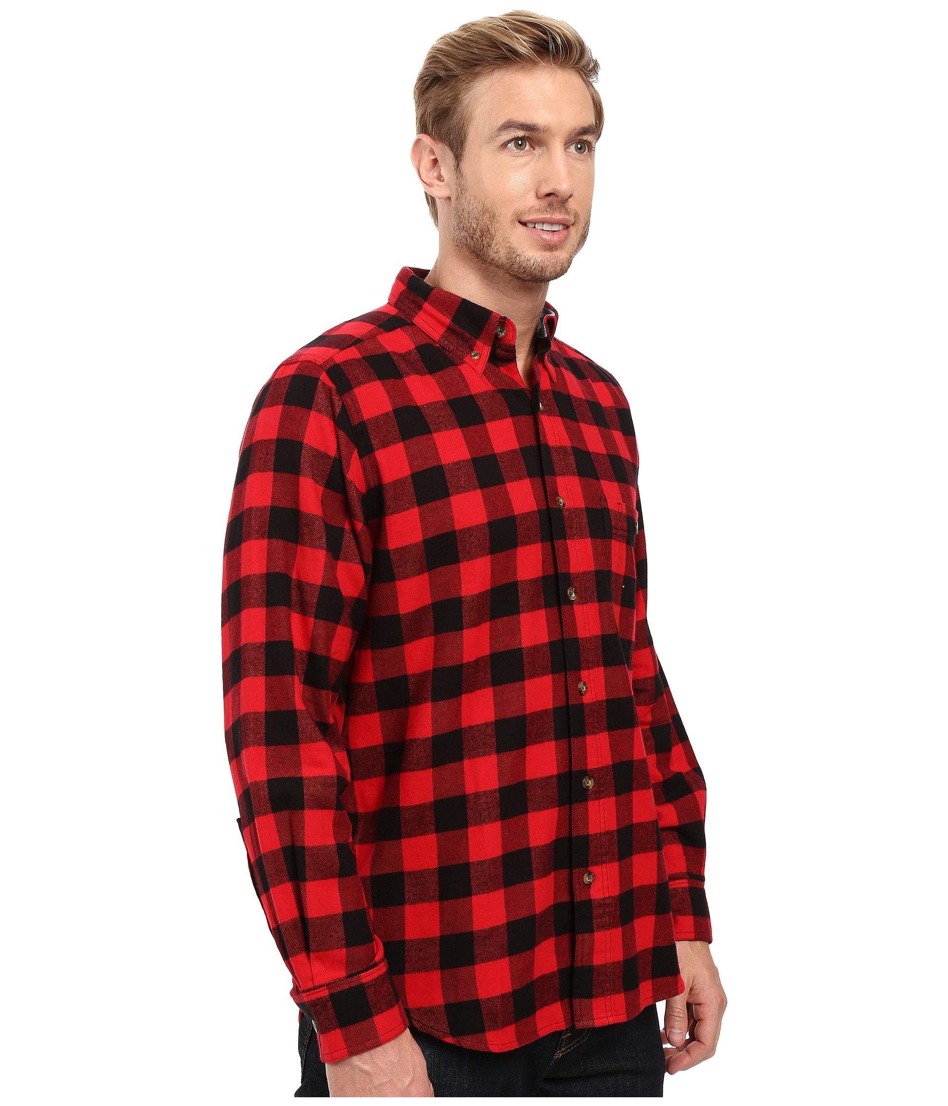 Woolrich trout run flannel shirt red buffalo check for Athletic cut flannel shirts
