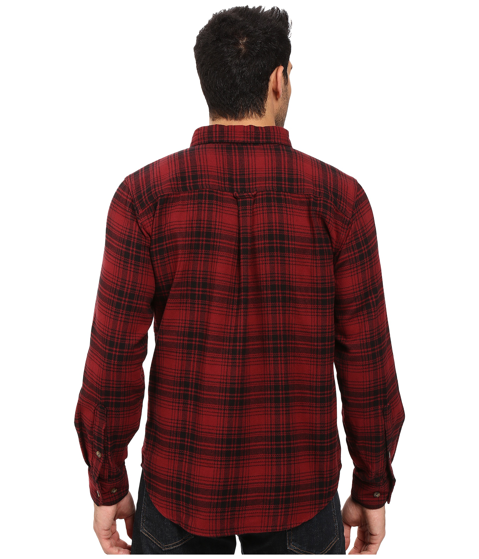 Woolrich trout run flannel shirt red hunt plaid zappos for Athletic cut flannel shirts