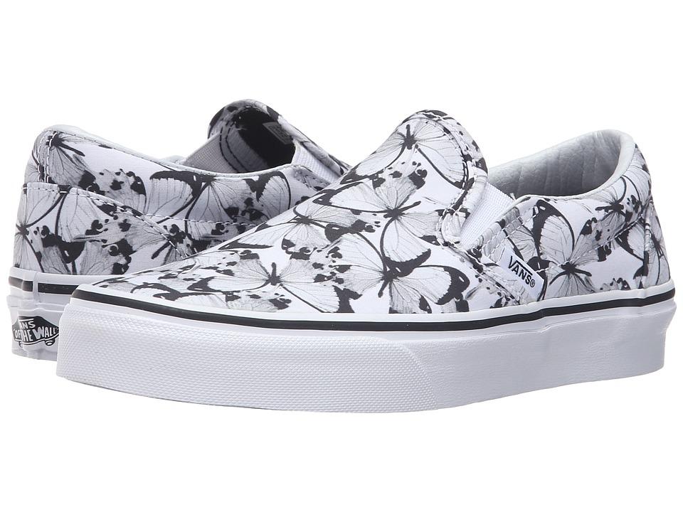 Vans - Classic Slip-On ((Butterfly) True White/Black) Skate Shoes