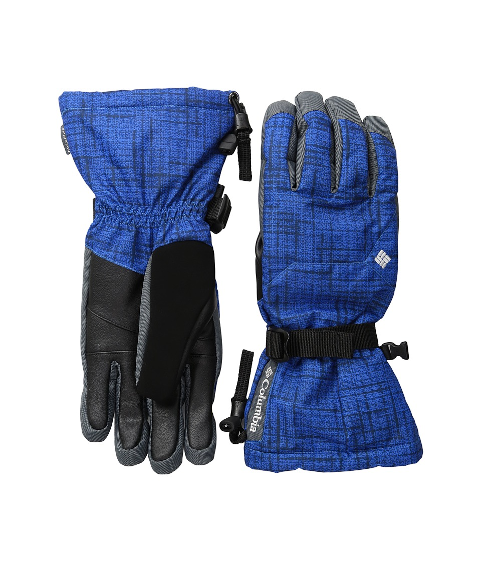 Columbia Whirlibird Ski Glove (Super Blue Tweed Plaid Print) Extreme Cold Weather Gloves