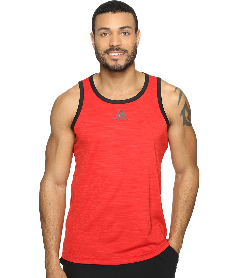 adidas - Heathered Tank (Scarlet/Black) Mens Sleeveless
