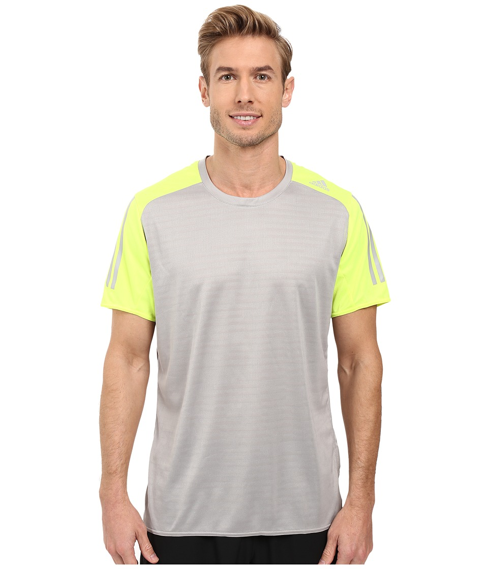 adidas - Response Short Sleeve Tee (MGH Solid Grey/Solar Yellow) Men