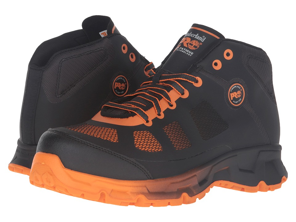 Timberland PRO Velocity Alloy Safety Toe Mid Boot (Black Synthetic/Orange Pops) Men