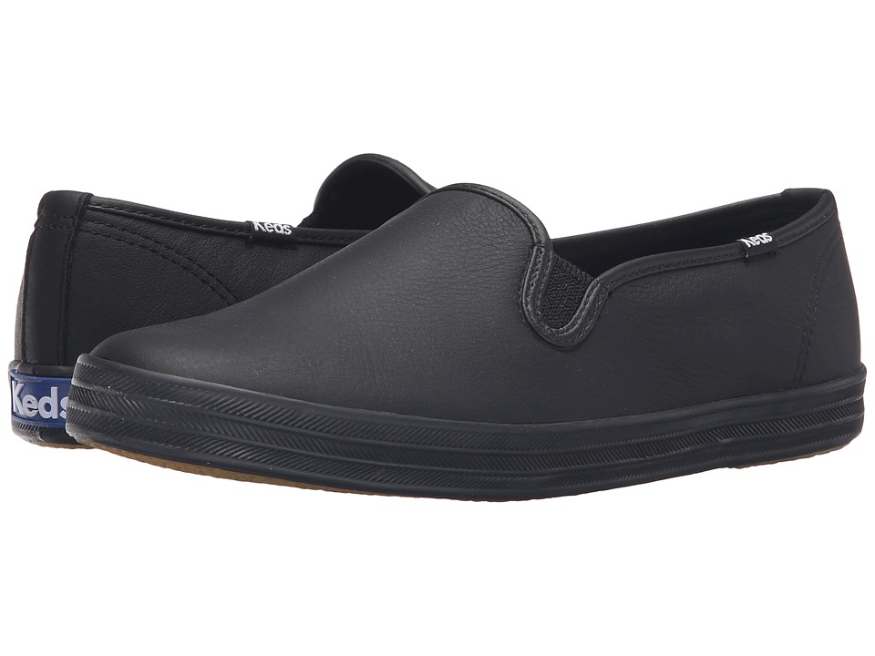 Keds Champion-Leather Slip-On (Black/Black) Women