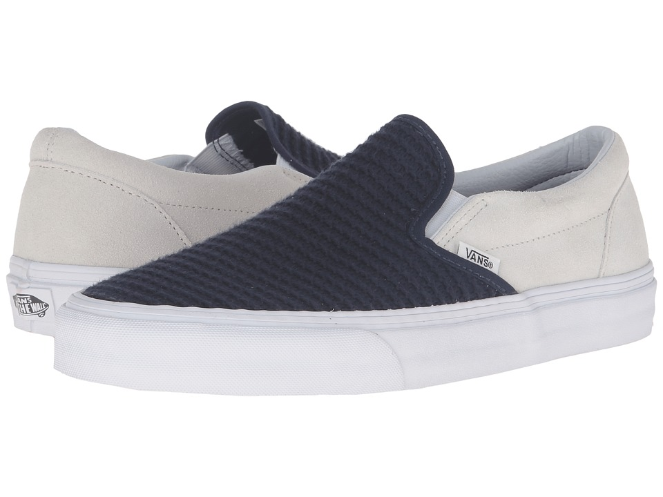 Vans Classic Slip-On ((Suede/Woven) Navy Blue/True White) Skate Shoes