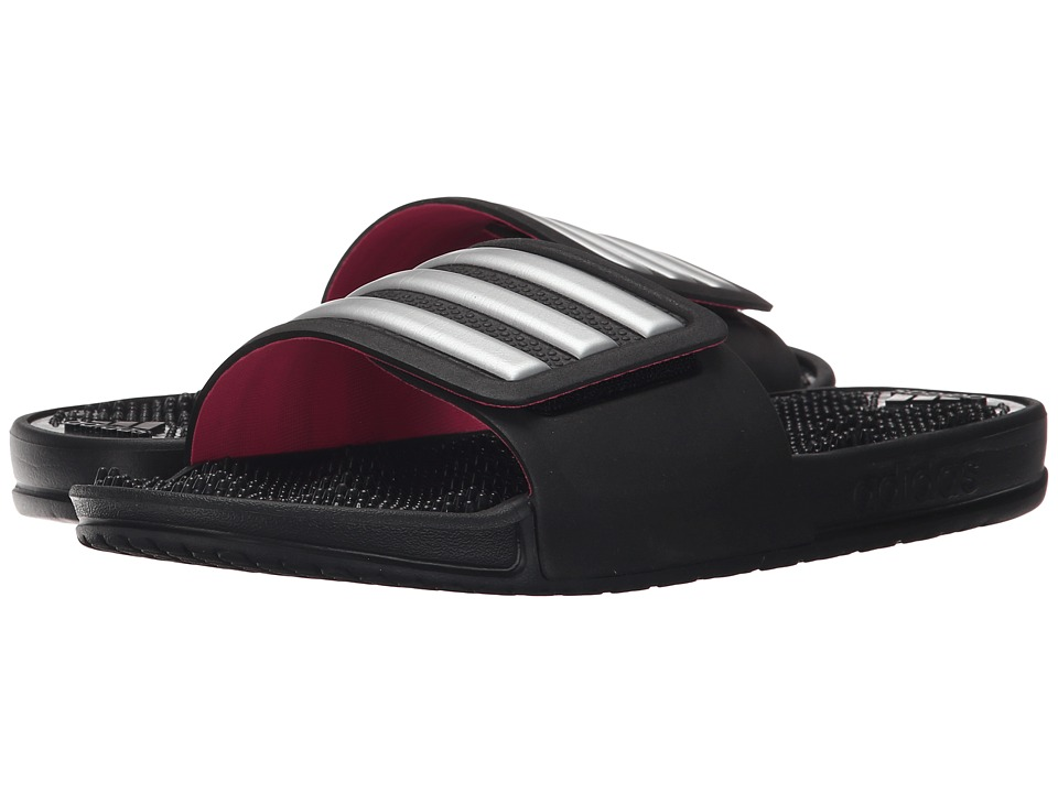 adidas adissage 2.0 3-Stripes (Black/Silver Metallic) Women