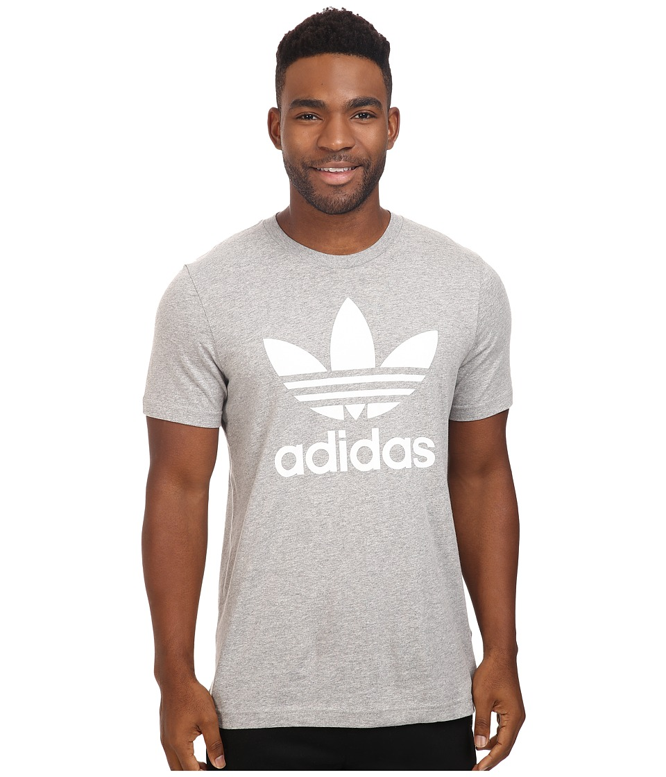 adidas Originals Originals Trefoil Tee (Medium Grey Heather/White) Men