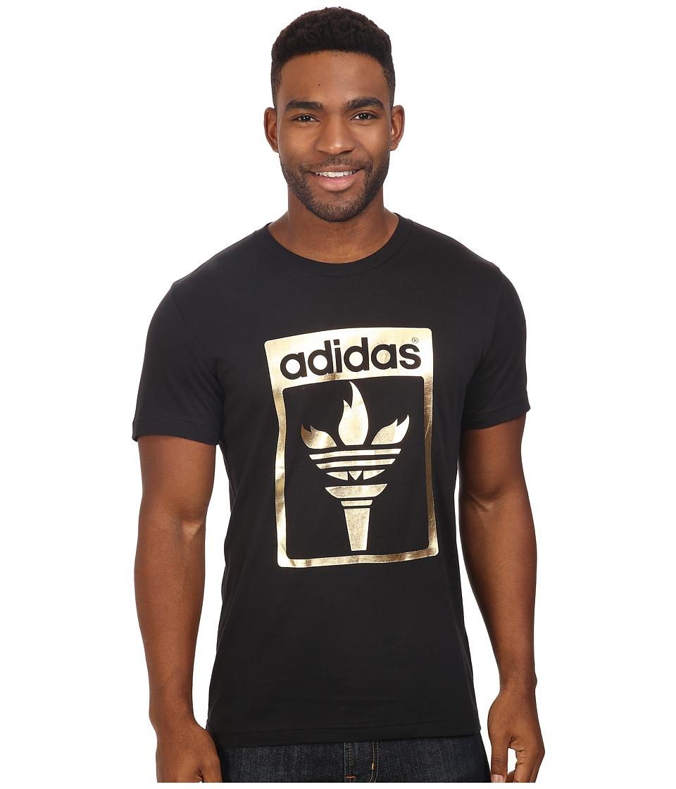 adidas Originals - Trefoil Fire Tee (Black/Gold Foil) Men