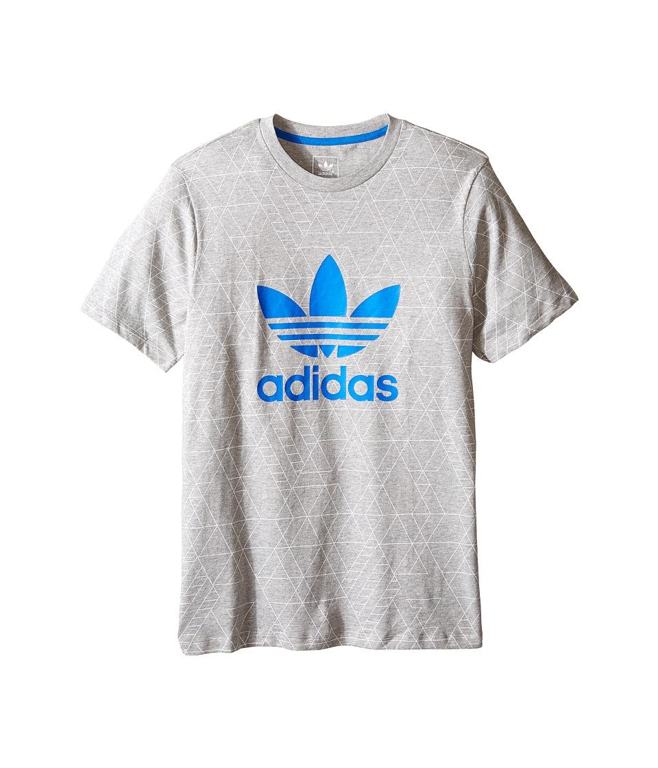 adidas Originals Kids - Tech Pocket Tee (Little Kids/Big Kids) (Medium Grey Heather/White/Bluebird) Boy
