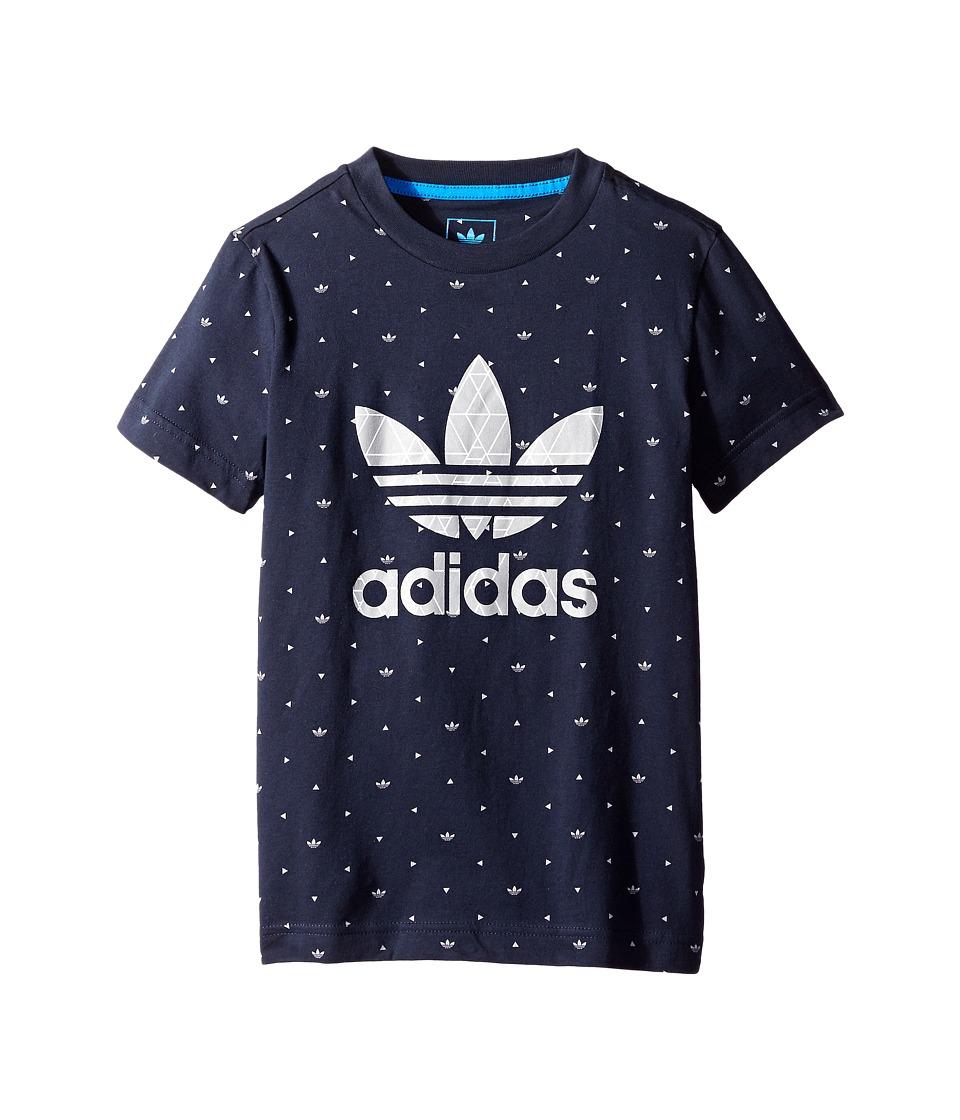 adidas Originals Kids - Tech AOP Tee (Little Kids/Big Kids) (Legend Ink/Medium Grey Heather) Boy